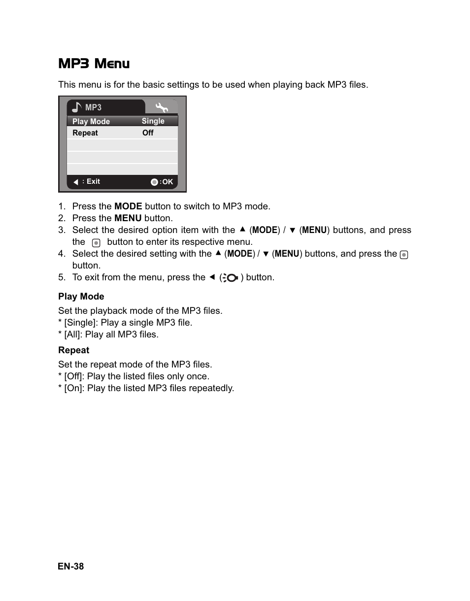 mp3 menu sanyo vpc hd100 user manual page 39 47 original mode rh manualsdir com