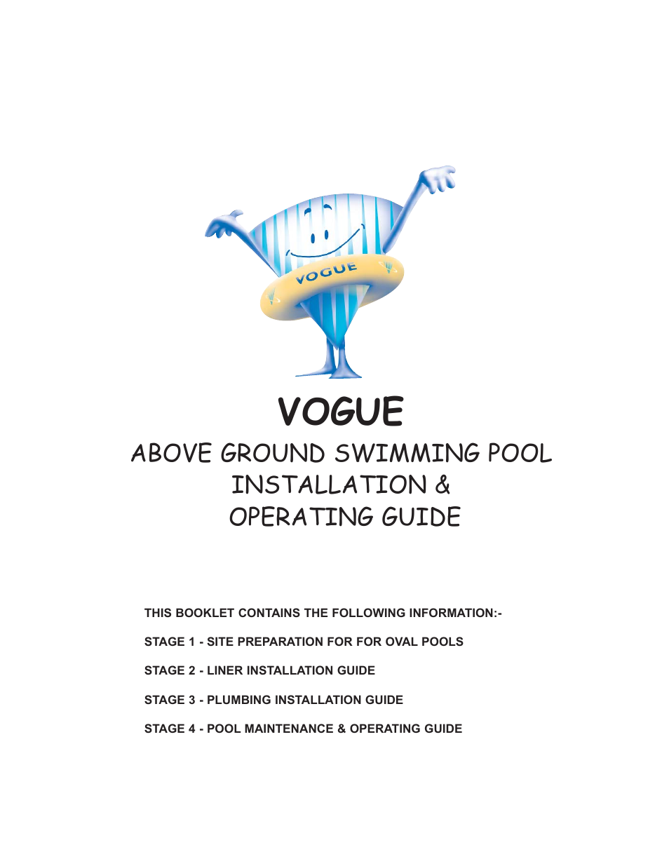 Vogue industrial above ground swimming pool user manual - Usa swimming build a pool handbook ...