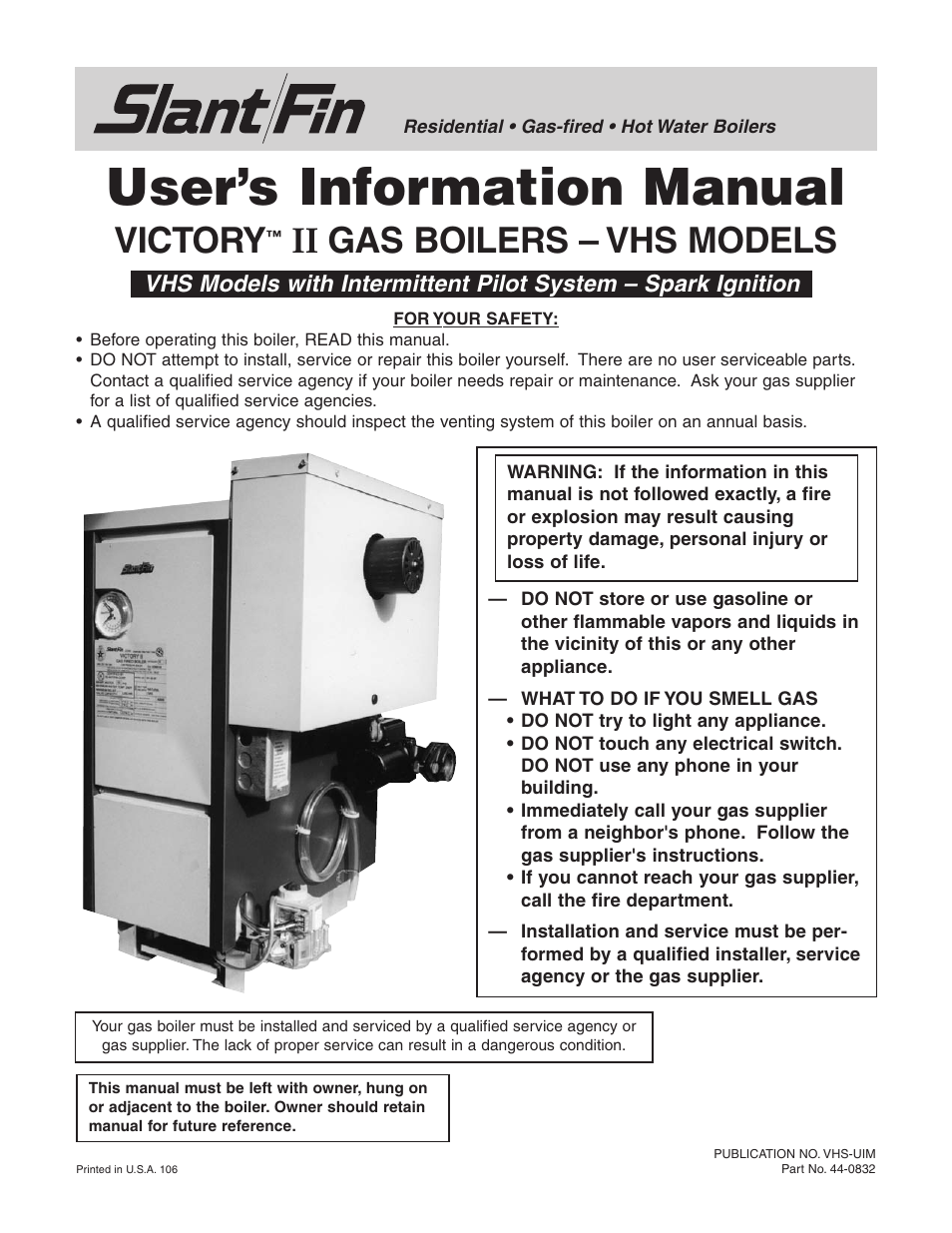 Slant Fin Vhs 120 User Manual 8 Pages Also For 90 150 Boiler Wiring Diagram