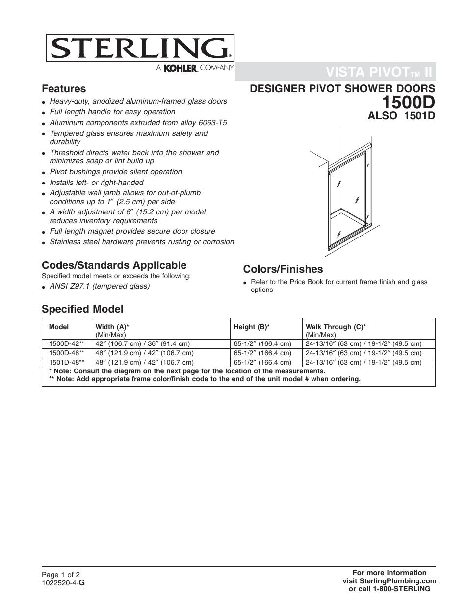 Sterling Plumbing Designer Pivot Shower Doors 1501d User