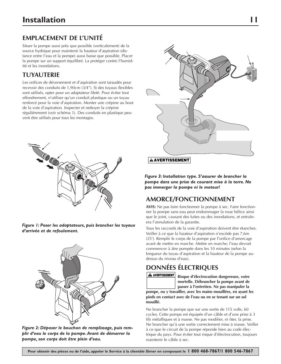 Installation 11, Emplacement de l'unité, Tuyauterie |  Amorce/fonctionnement, Données