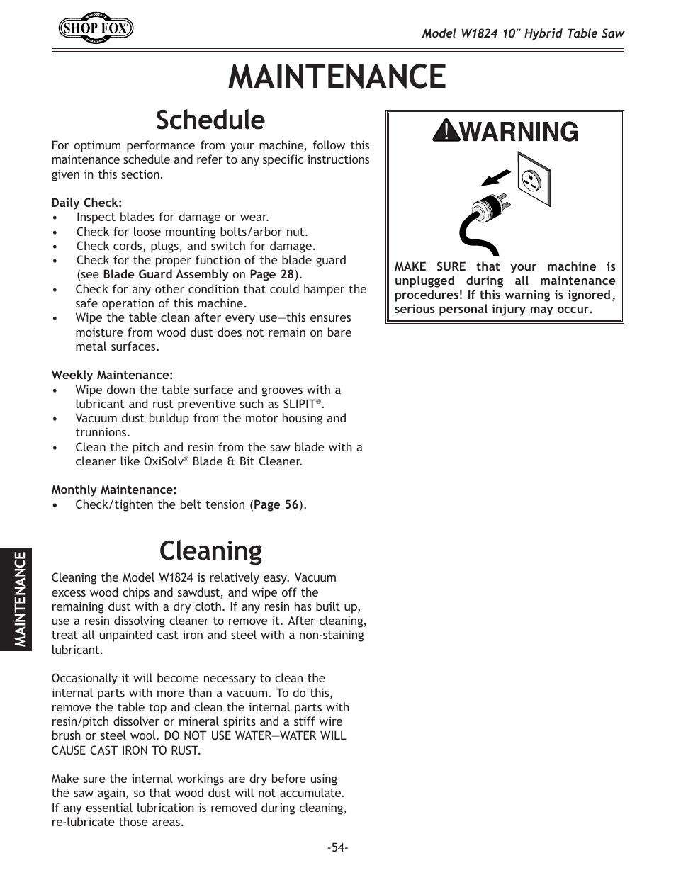 Maintenance, Cleaning, Schedule | Woodstock SHOP FOX W1824 User Manual |  Page 56 /