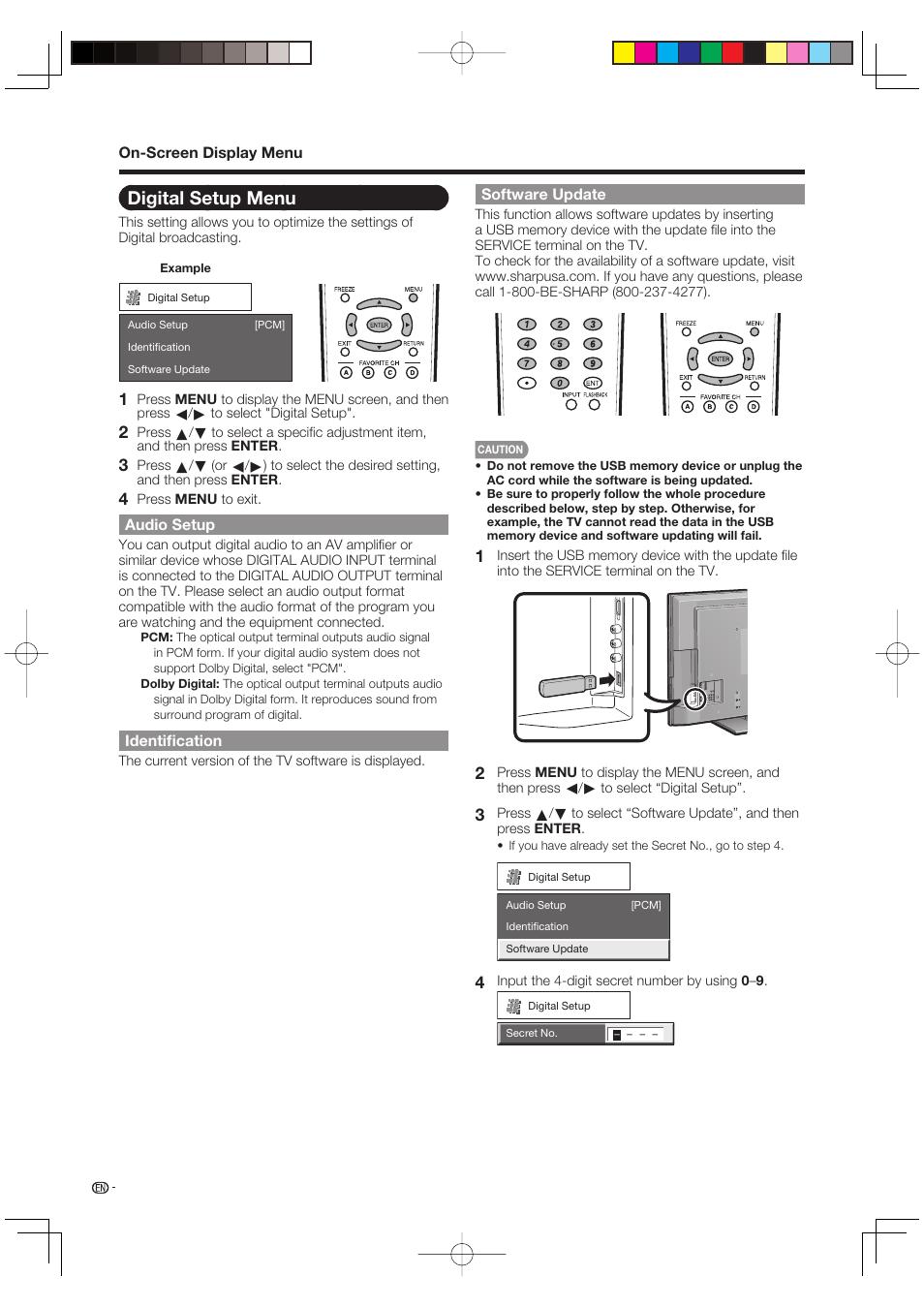 Digital setup menu, Audio setup, Identification | Sharp