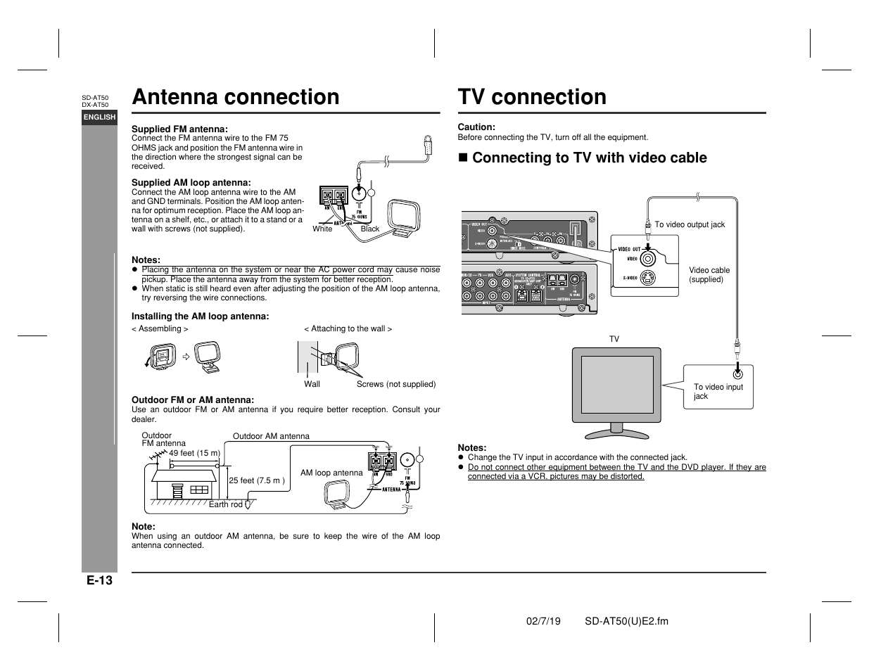 Antenna connection, Tv connection, Prepar ation for use