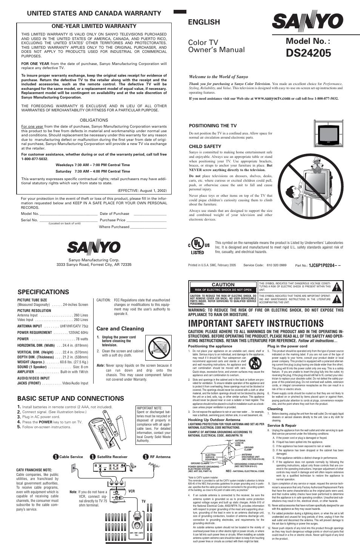 sanyo ds24205 user manual 2 pages rh manualsdir com