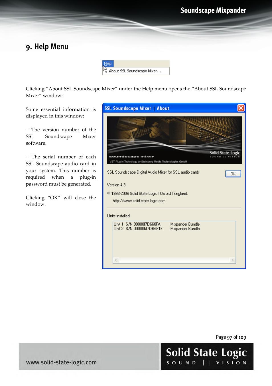 Help menu, Soundscape mixpander | Solid State Logic Soundscape Mixer