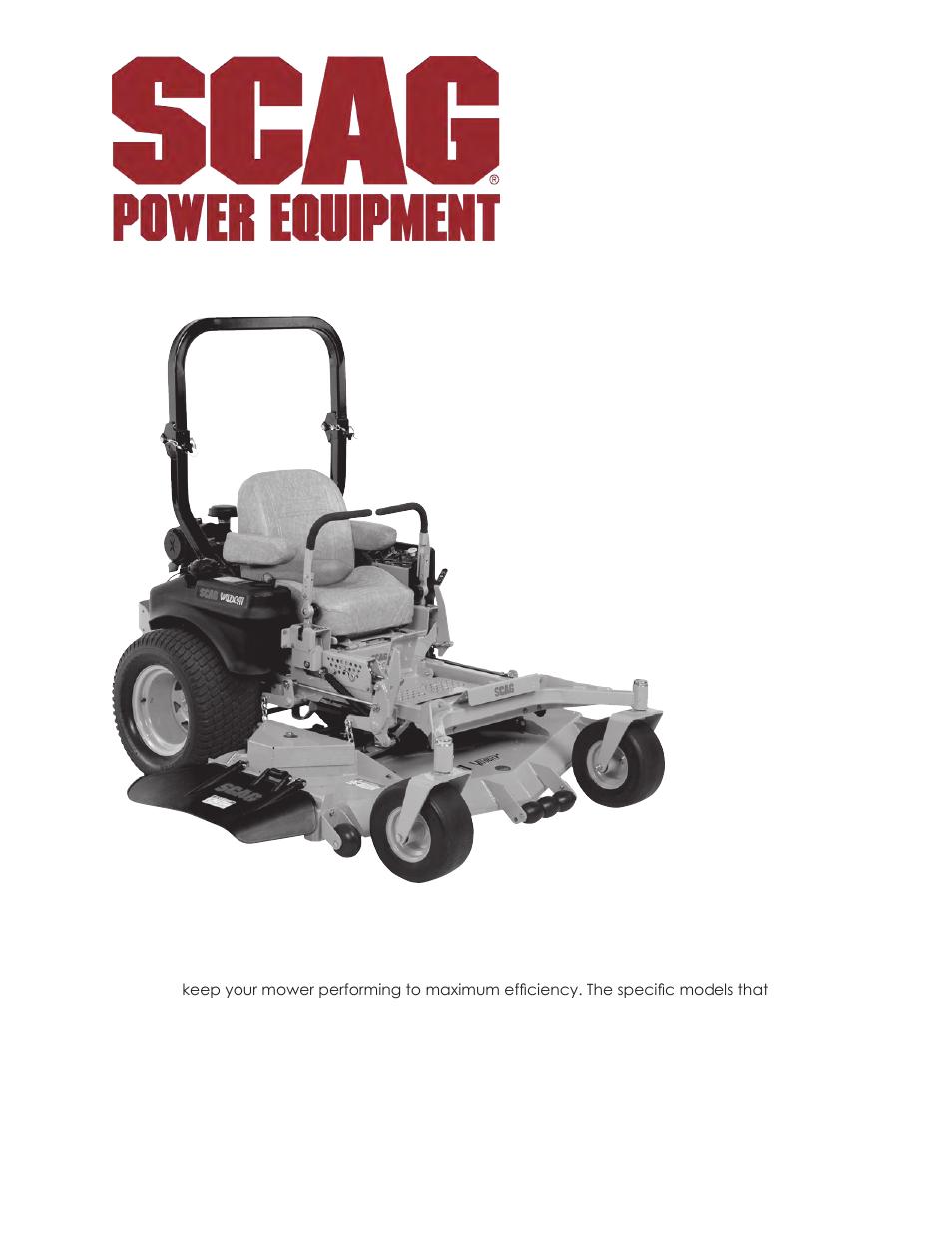 scag power equipment wildcat stwc48v 25cv user manual 122 pages rh manualsdir com Scag Turf Tiger Parts Scag Turf Tiger Parts