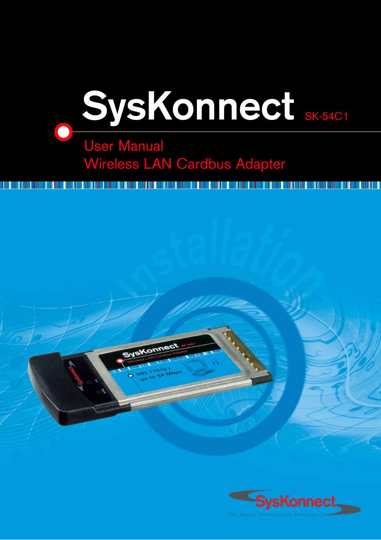 SysKonnect Wireless LAN Cardbus Adapter SK 54C1 User Manual