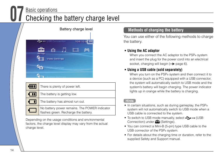 Checking the battery charge level, Basic operations | Sony