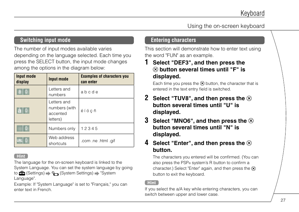 Keyboard | Sony PSP-3004 User Manual | Page 27 / 32