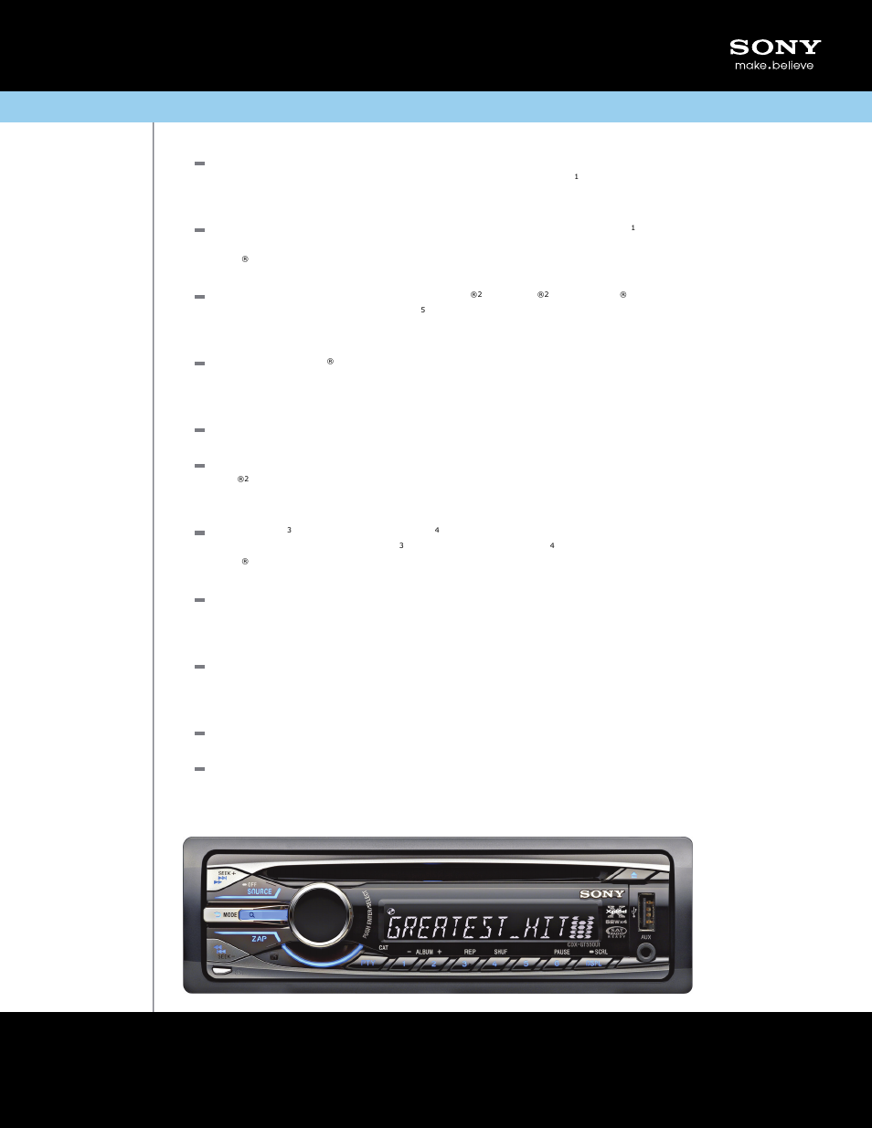 Sony CDX-GT550UI User Manual | 2 pages on