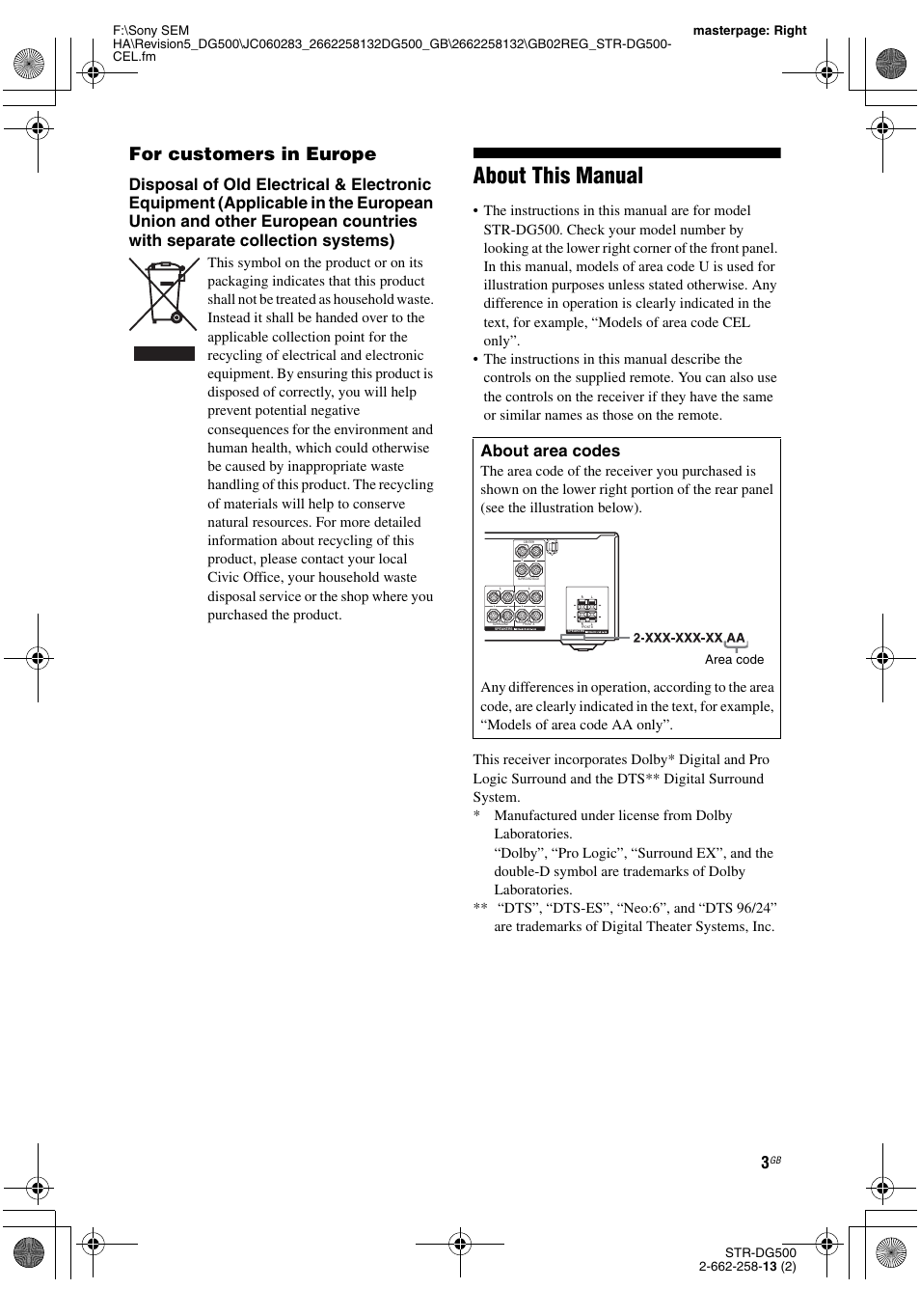 about this manual for customers in europe about area codes sony rh manualsdir com Sony STR-DG500 DVD Sony STR-DG500 DVD