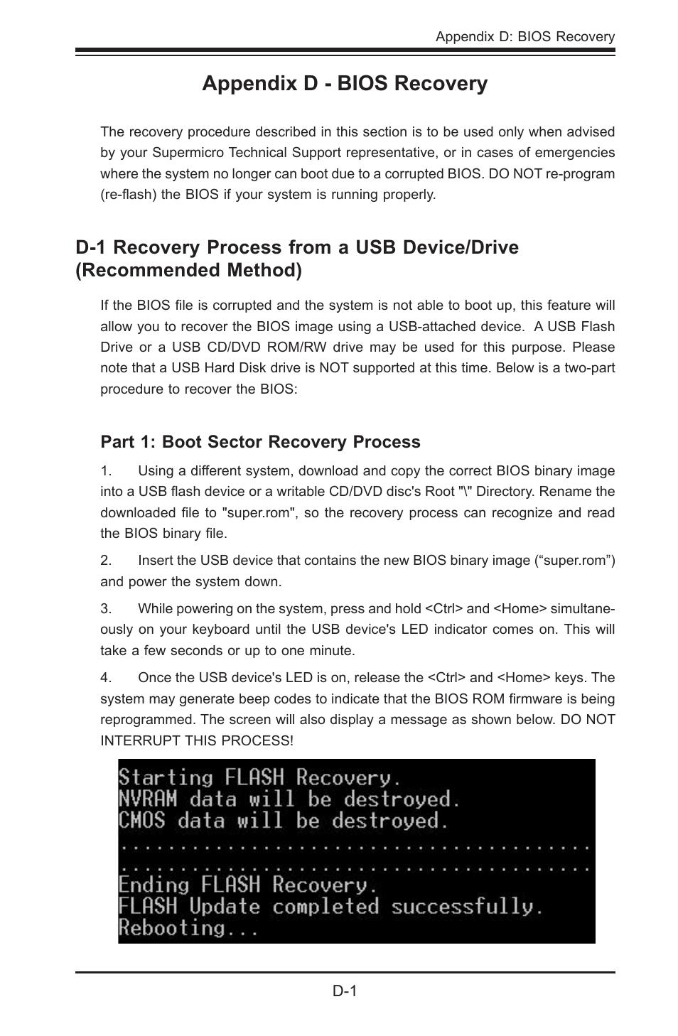 Appendix d - bios recovery   SUPER MICRO Computer SUPER X8STE User