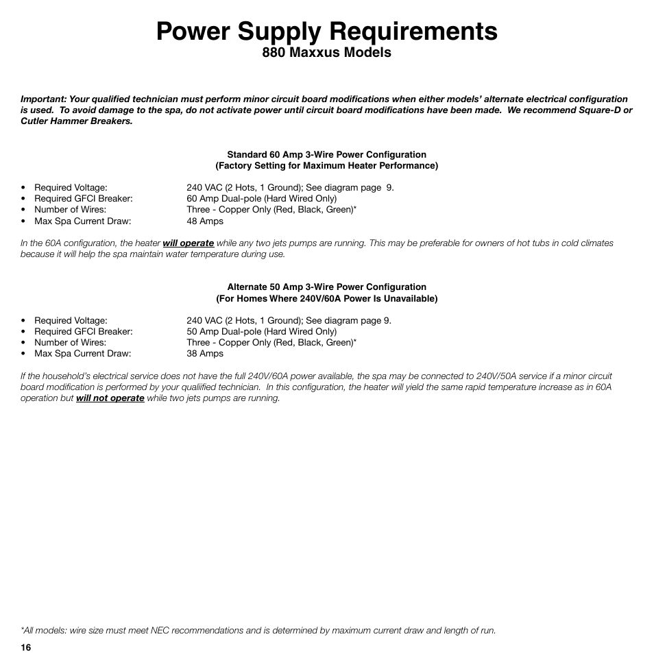 Power Supply Requirements 0 Maxxus Models Sundance Spas 850 Hot Tub Wiring Awg Diagram Portal Series User Manual Page