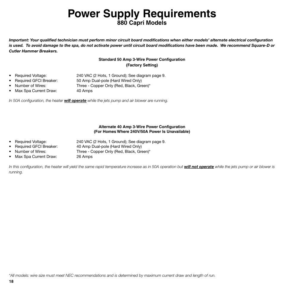 Power Supply Requirements 0 Capri Models Sundance Spas 850 Series Wiring Diagram 50 Amp Gfci Breaker User Manual Page 18 24