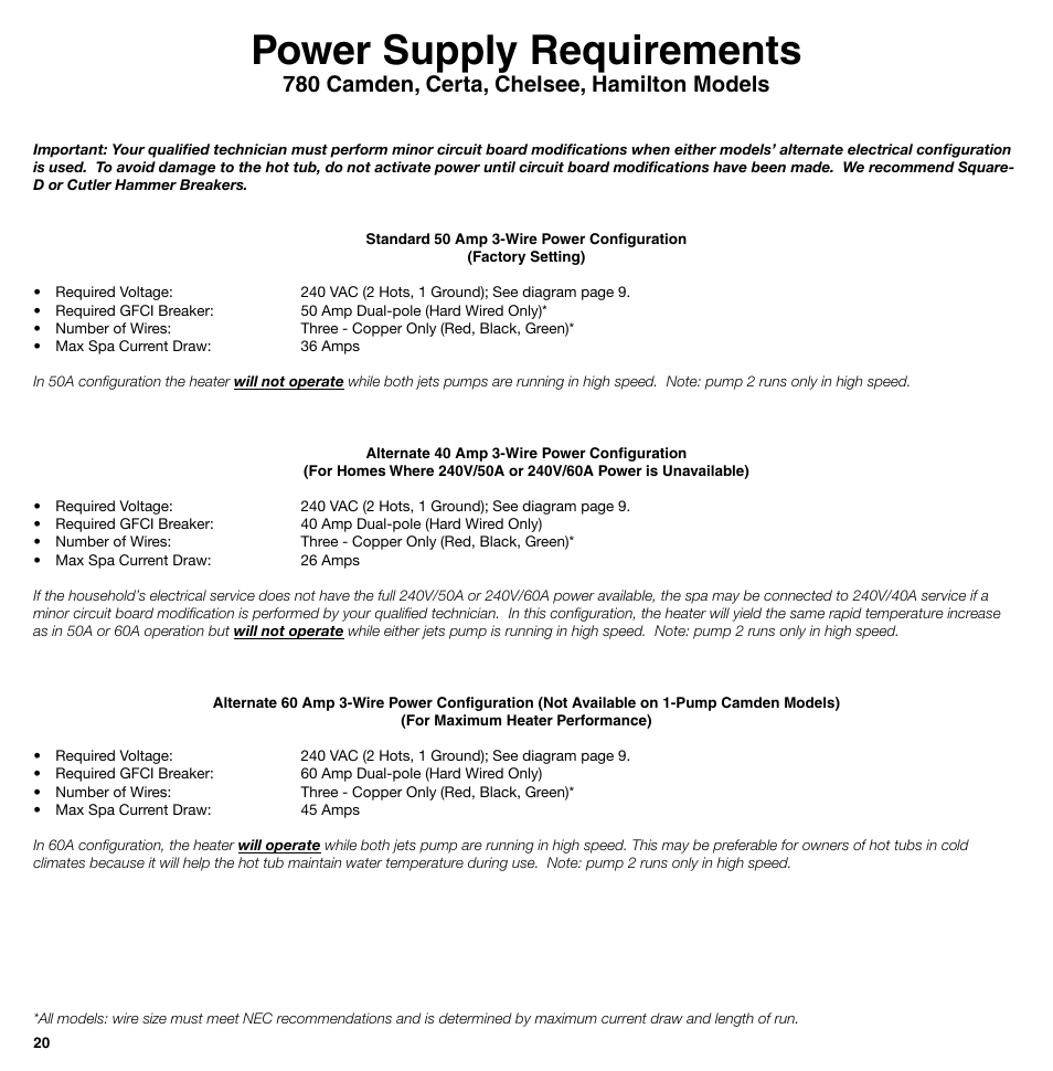 power supply requirements, 780 camden, certa, chelsee, hamilton hot tub breaker wiring power supply requirements, 780 camden, certa, chelsee, hamilton models sundance spas 850 series user manual page 20 24