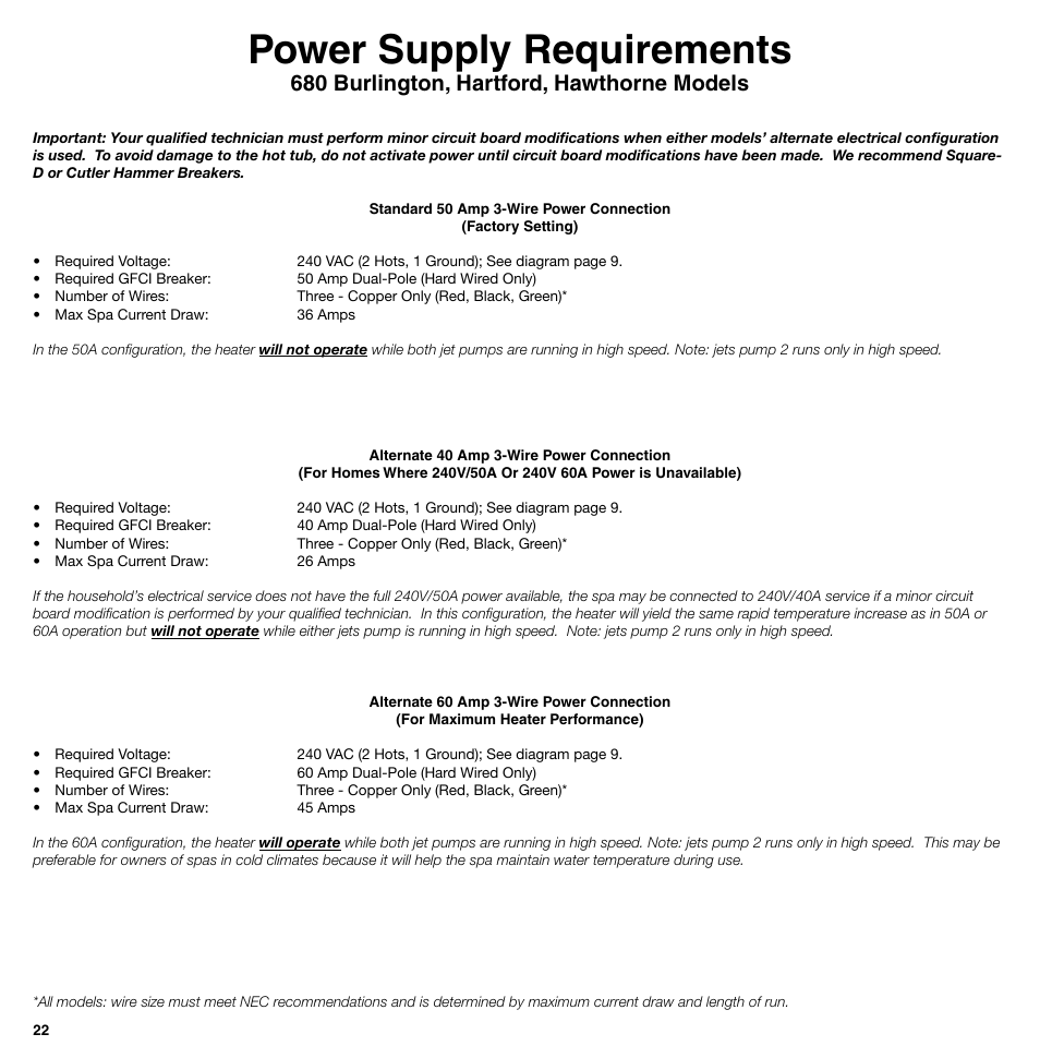 Power Supply Requirements 680 Burlington Hartford Hawthorne Hot Tub Wiring Awg Diagram Portal Models Sundance Spas 850 Series