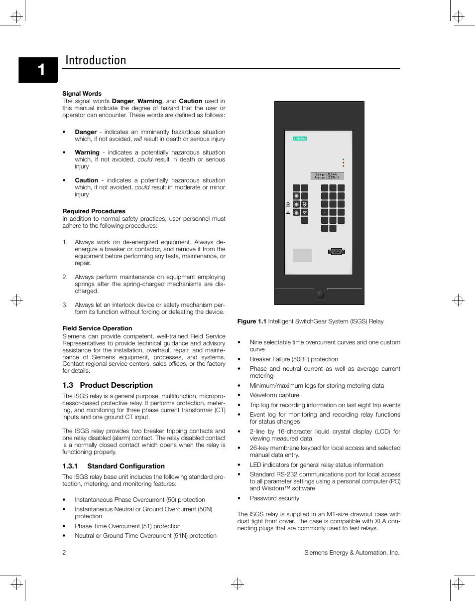 Introduction, 3 product description   Siemens ISGS SG8158-00 User