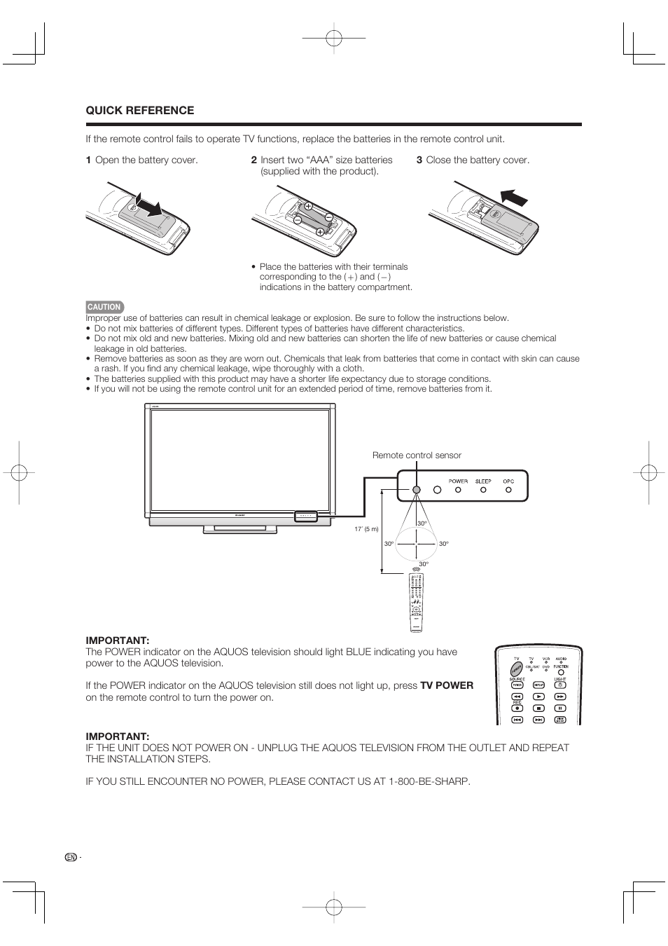 Quick reference | Sharp Aquos LC 52SE94U User Manual | Page 10 / 59