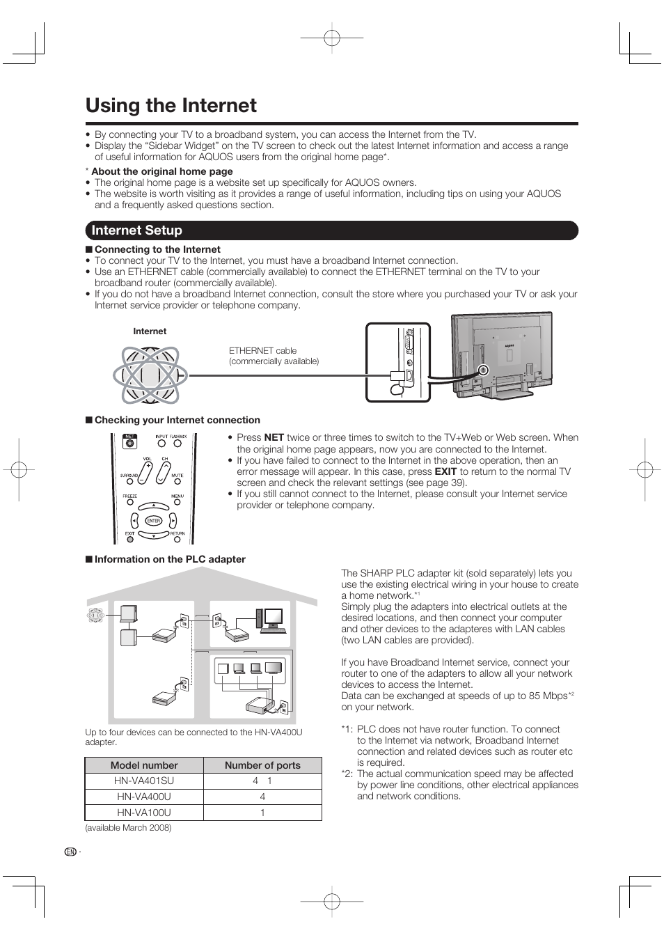 Using The Internet Setup Sharp Aquos Lc 52se94u User Broadband Connection Sharing Diagram Manual Page 40 59