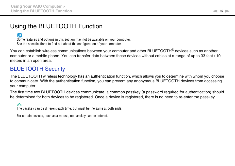 Using the bluetooth function, Bluetooth security | Sony VAIO VPCJ2