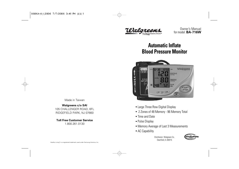 samsung ba 716w user manual 30 pages rh manualsdir com Blood Pressure Monitor Manual Wgnbpw 710 ReliOn Blood Pressure Monitor Accuracy