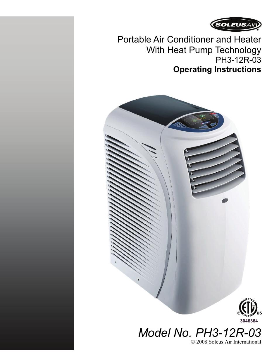 Soleus Air Heater Wiring Diagram Modern Design Of International Heat Pump Ph3 12r 03 User Manual 16 Pages Rh Manualsdir Com Portable Conditioner With