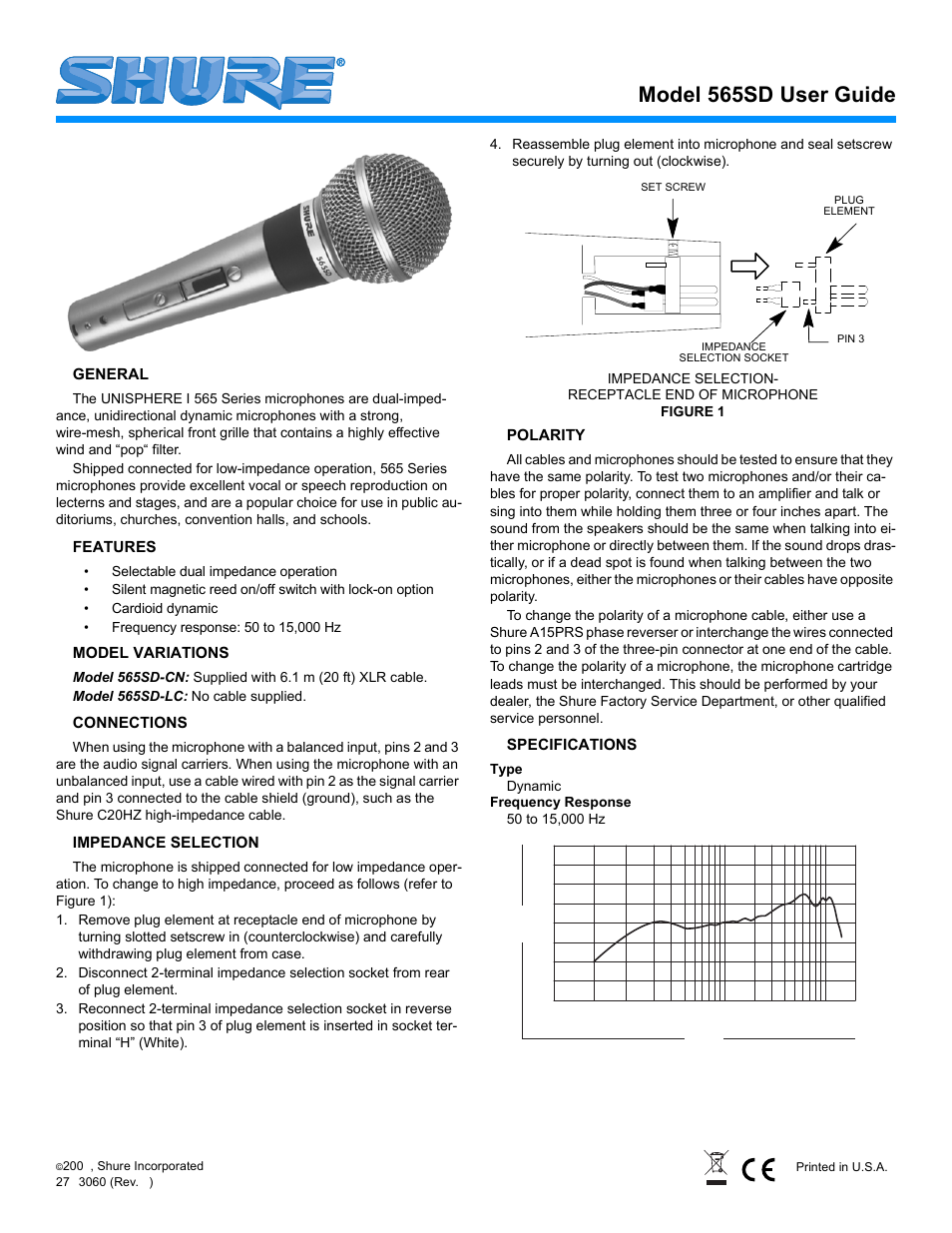 Shure 565sd User Manual 12 Pages