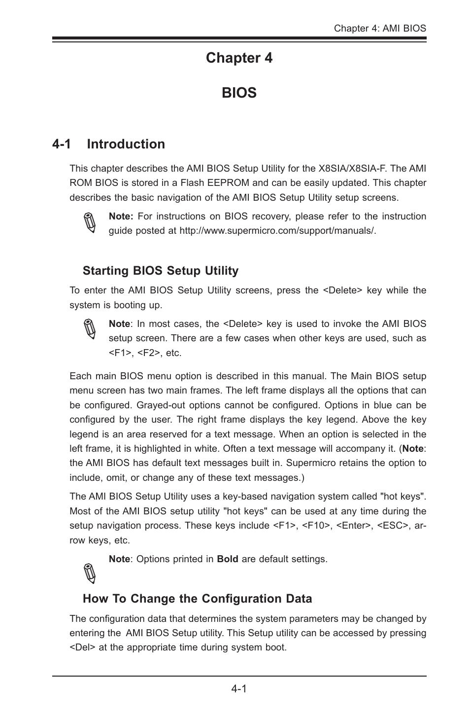 Chapter 4 bios, 1 introduction   SUPER MICRO Computer SUPERO