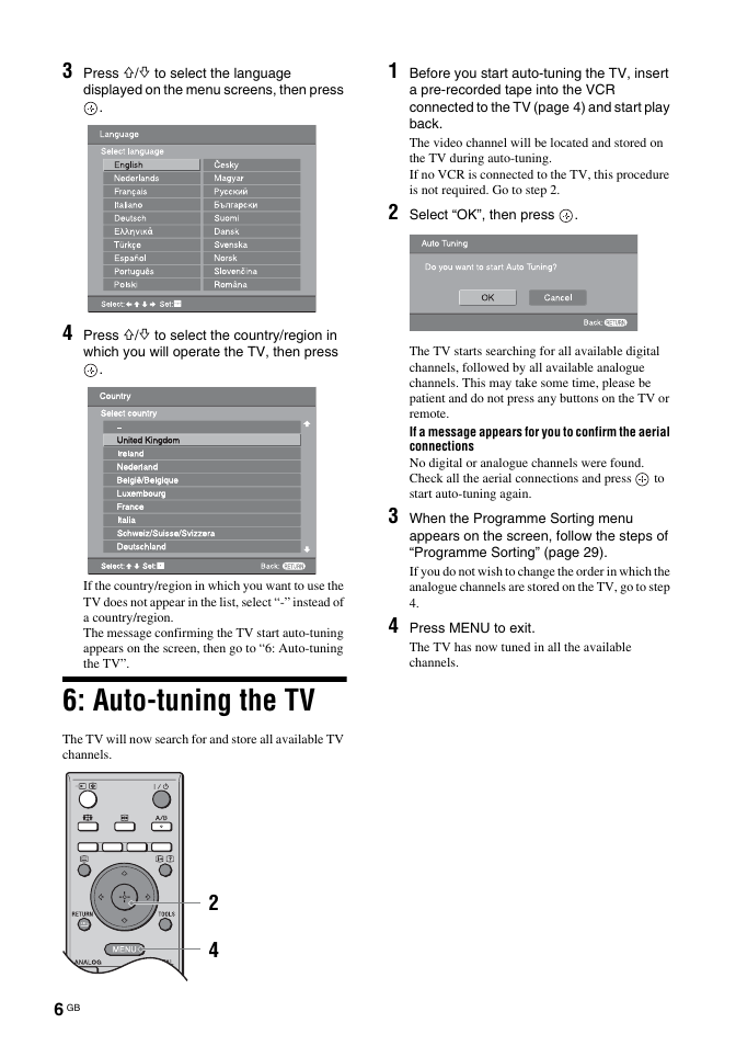 Auto-tuning the tv | Sony Bravia KDL-26S2030 User Manual