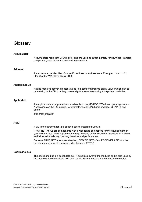 Glossary, Glossary-1 | Siemens Simatic S7-300 CPU 31xC and