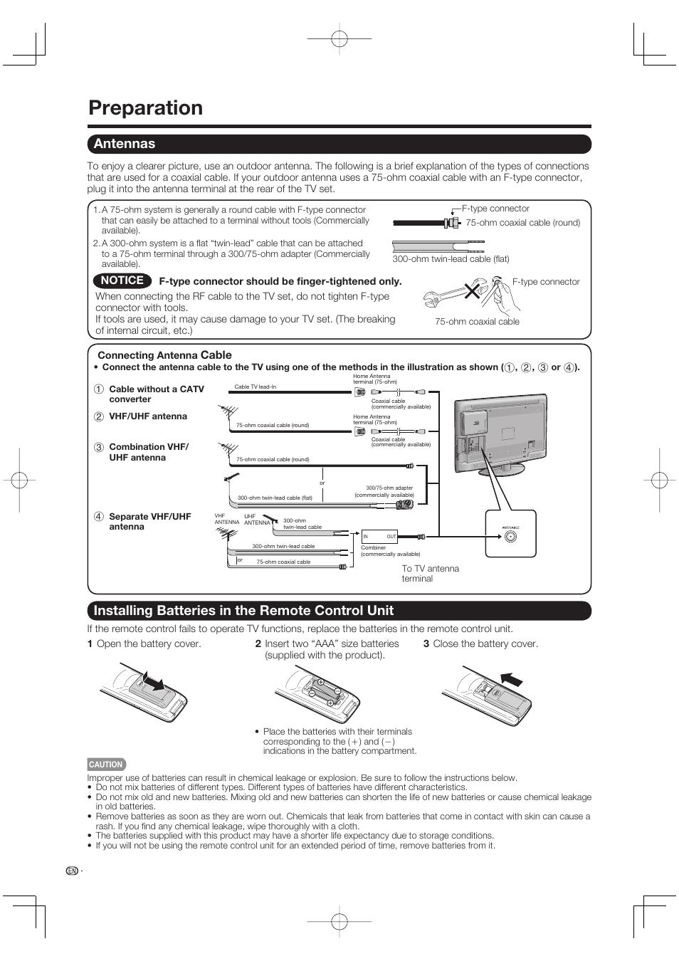 preparation antennas installing batteries in the remote control rh manualsdir com sharp aquos 65 inch led smart tv manual manual tv sharp aquos 65 español