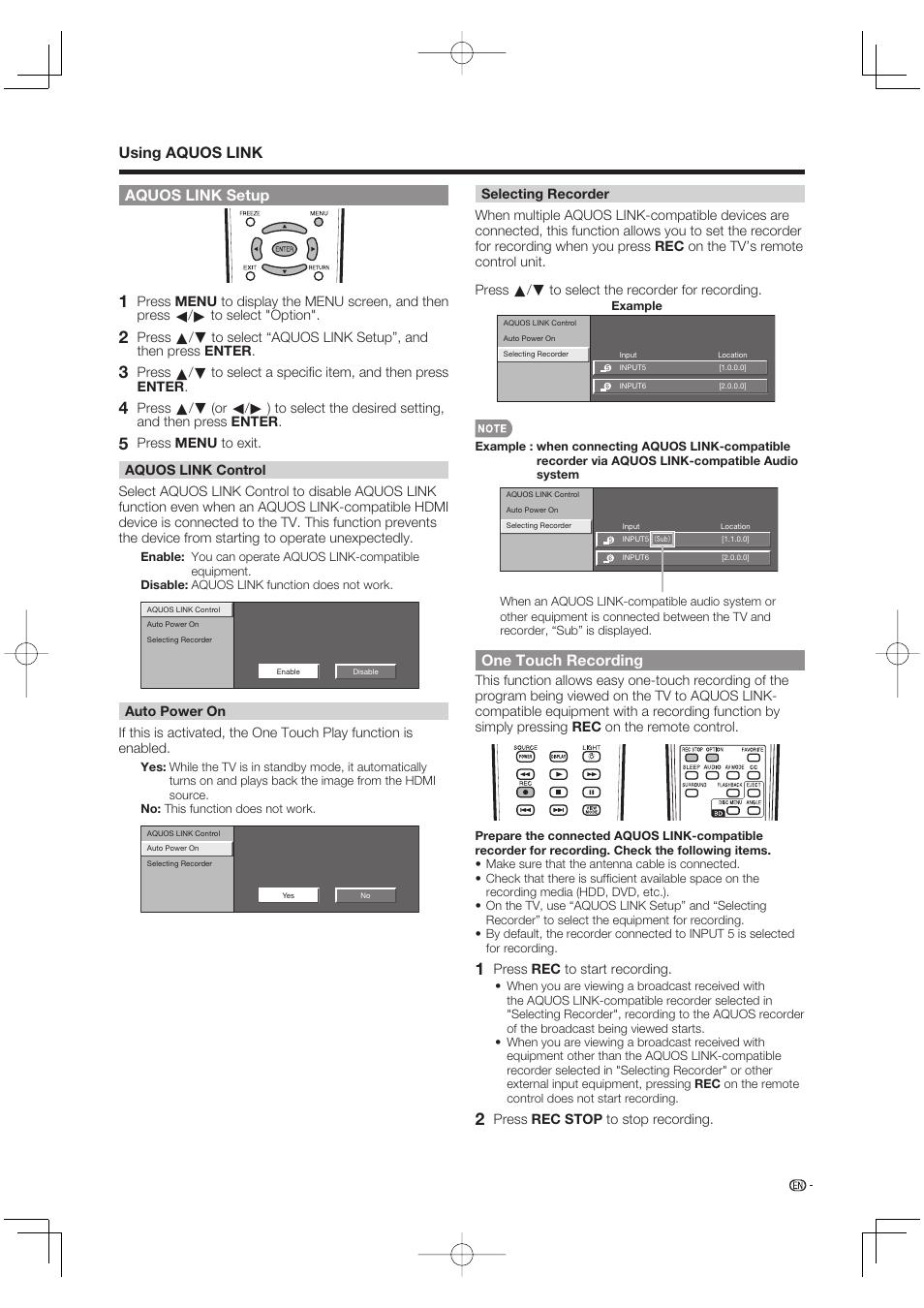 Aquos link setup, Using aquos link, One touch recording