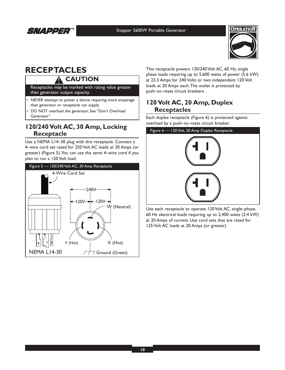Receptacles Caution Snapper 5600 User Manual Page 10 28 Wiring A L1430 Plug