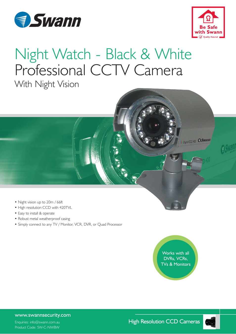 Swann Professional CCTV Camera User Manual | 2 pages