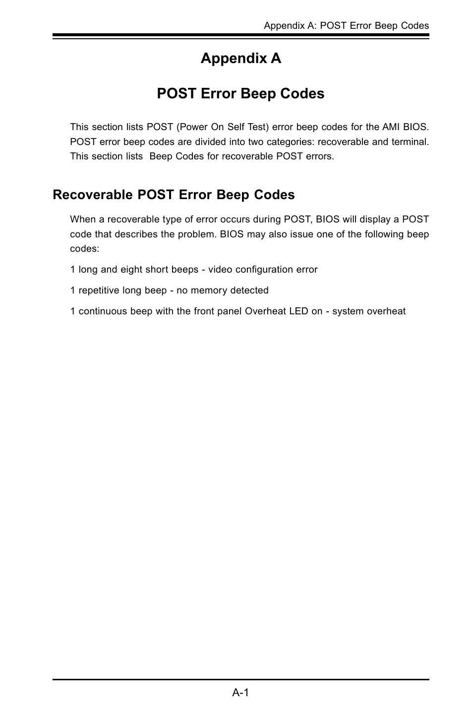 Appendix a post error beep codes, Recoverable post error