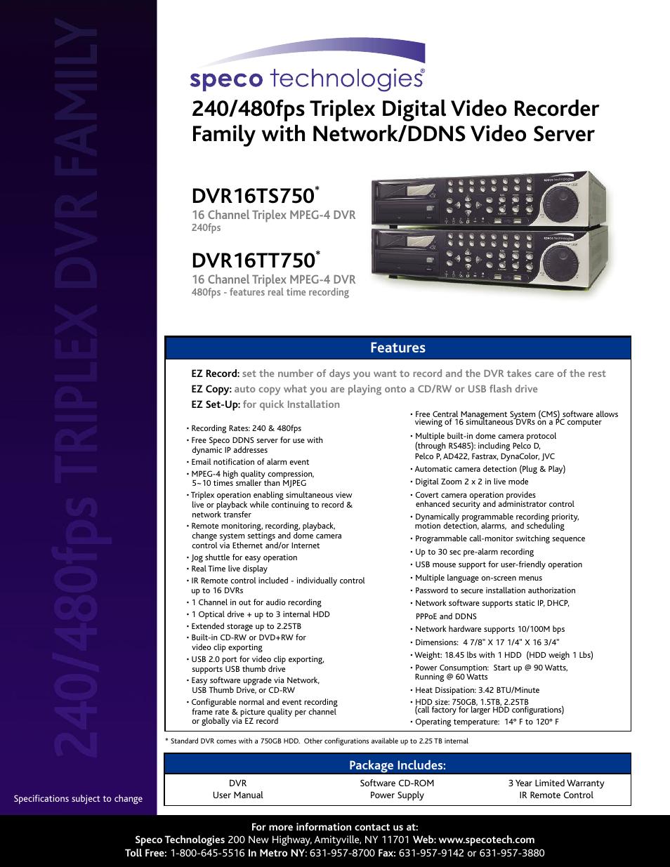 speco technologies dvr16tt750 user manual 2 pages also for rh manualsdir com speco central 2.7.1 manual Speco Speakers