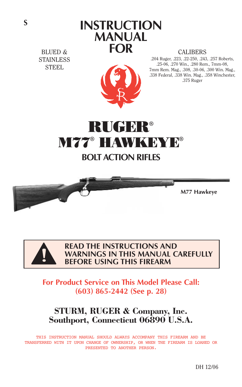 ruger m77 user manual 42 pages rh manualsdir com Ruger M77 Hawkeye All Weather Ruger M77 Hawkeye All Weather