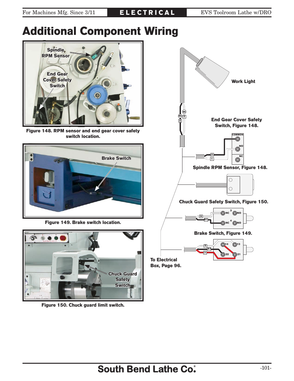 Additional component wiring, Additional com- pontnet | Southbend EVS Tool  Room lathe w/