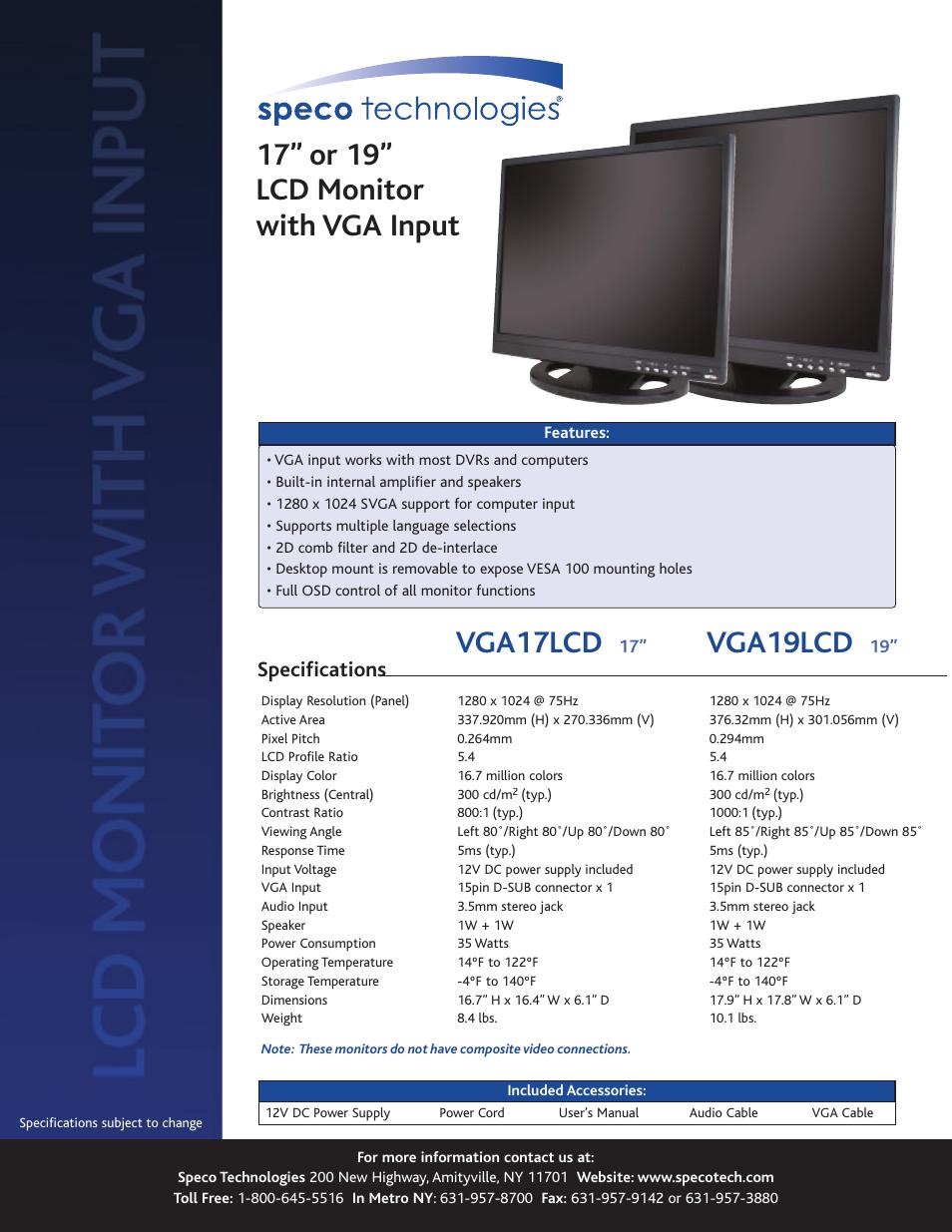 speco technologies vga19lcd user manual 1 page also for vga17lcd rh manualsdir com Speco Solar speco central ii manual