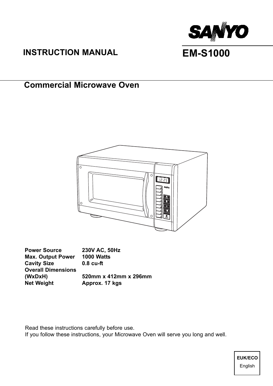 Sanyo Em S1000 User Manual 18 Pages