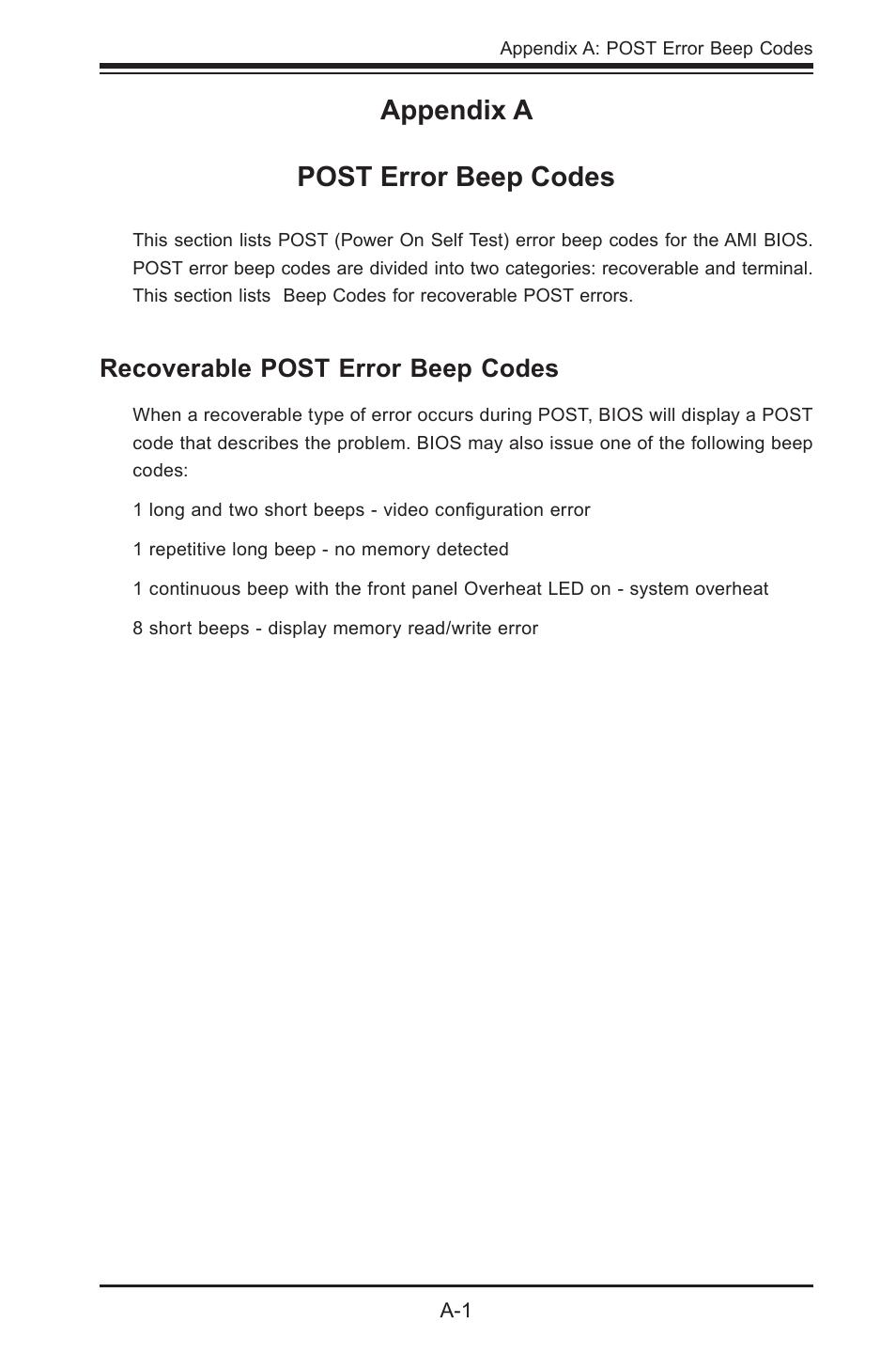 Appendix a post error beep codes, Recoverable post error beep codes