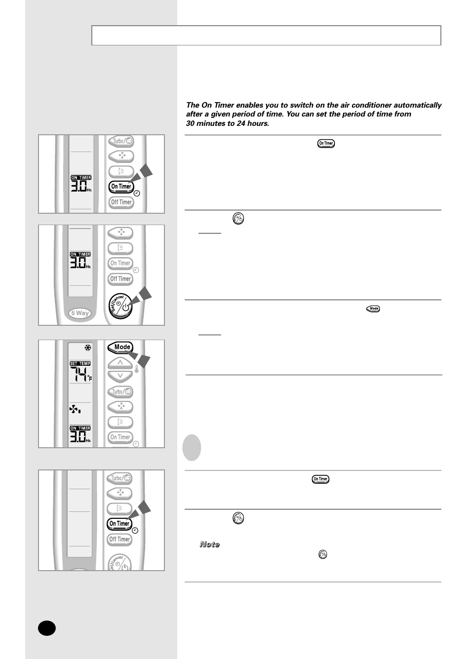 Setting the on timer | Samsung AS07A5(6)MA User Manual | Page 16 / 26