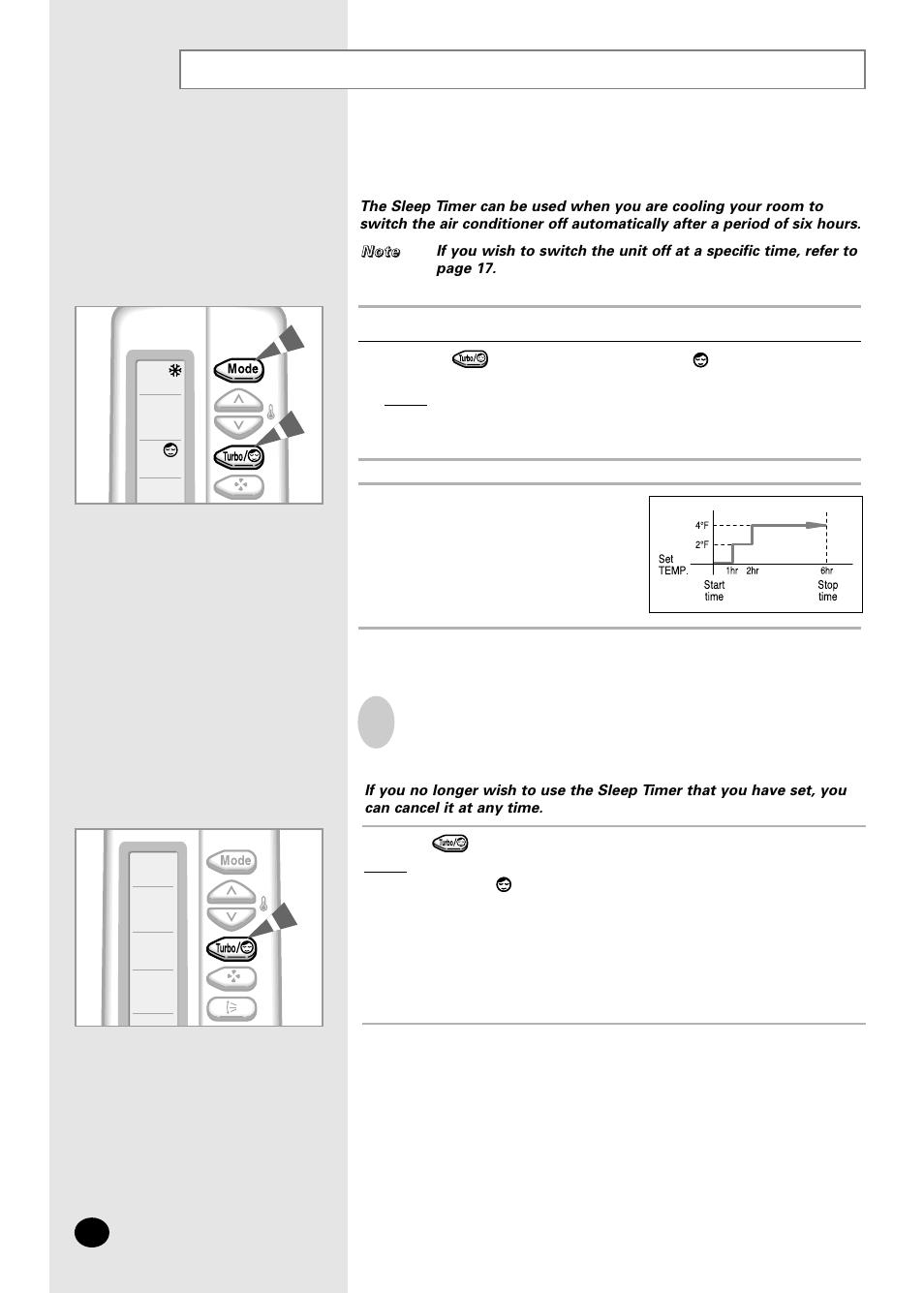 Setting the sleep timer | Samsung AS07A5(6)MA User Manual