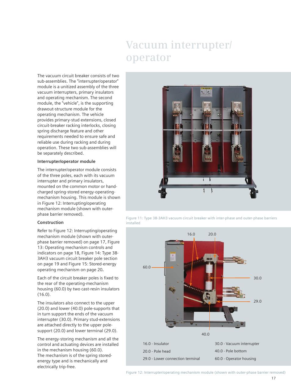 Vacuum interrupter/ operator | Siemens vacuum circuit