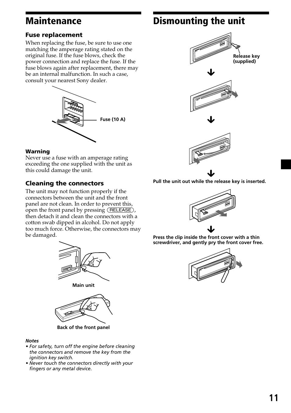 11 dismounting the unit maintenance sony cdx 4250 user manual rh manualsdir com