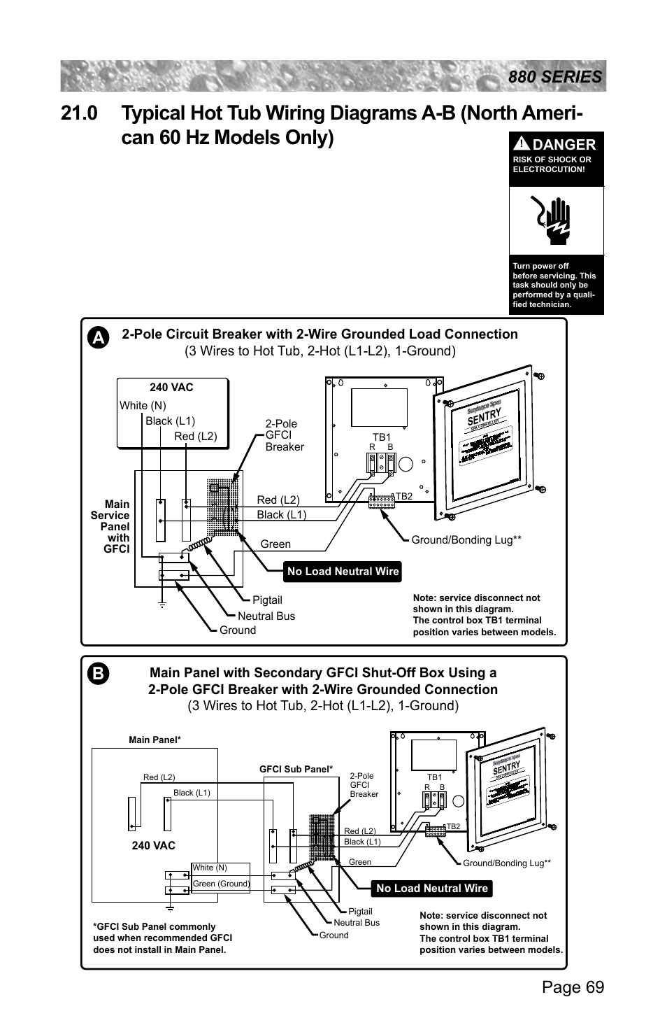 0 typical hot tub wiring diagrams a-b, north american 60 hz models only),  danger | sundance spas altamar 880 user manual | page 75 / 92