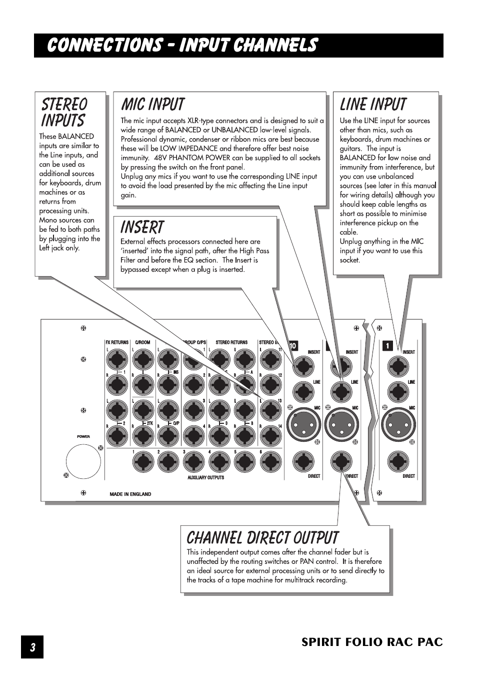 Connections - input channels | SoundCraft Spirit Folio Rac Pac User Manual  | Page 4 / 23