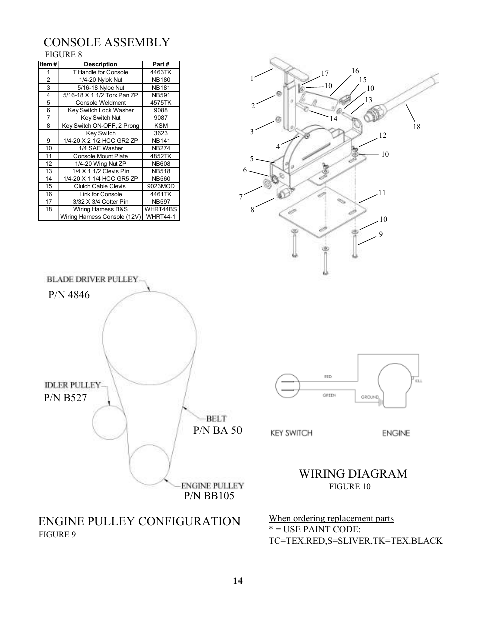 Console assembly, Wiring diagram, Engine pulley configuration | Swisher  RTB105441 User Manual | Page 14 / 16