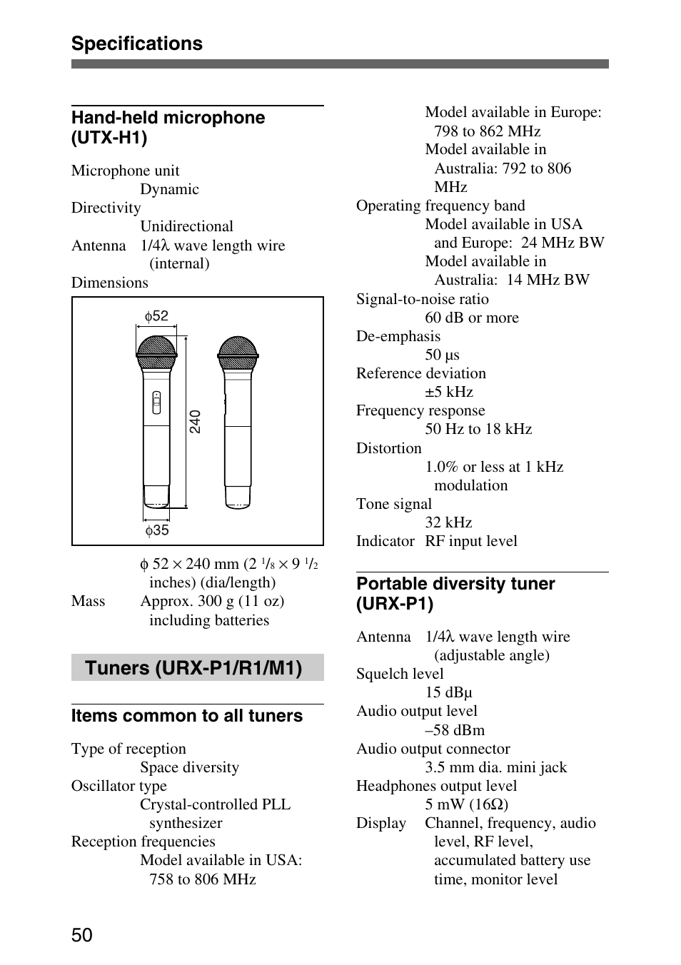 Specifications 50, Tuners (urx-p1/r1/m1) | Sony UPW-C1/C2 User